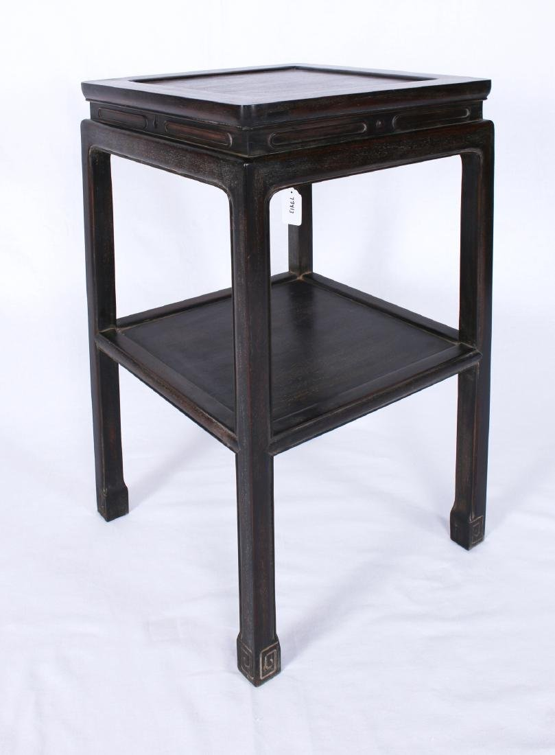 SQUARE TWO-TIERED ZITAN END TABLE