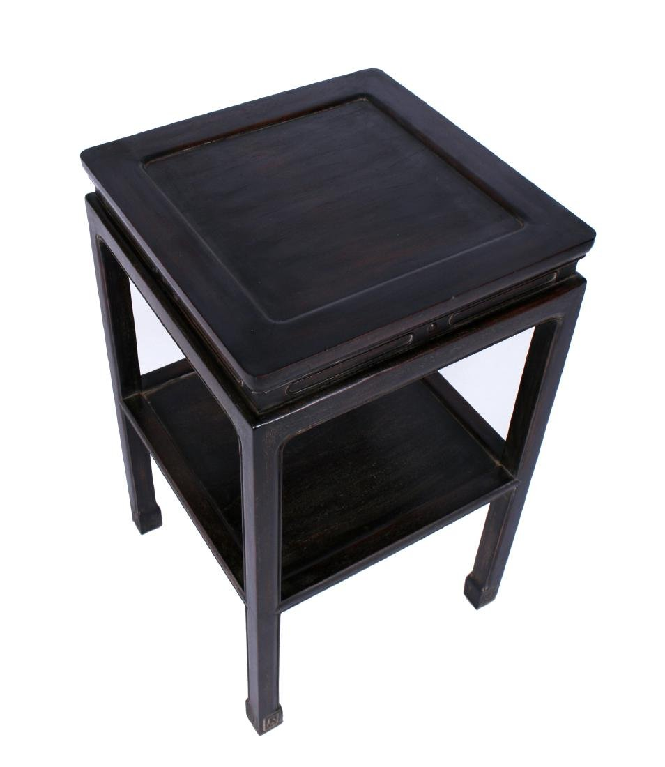 SQUARE TWO-TIERED ZITAN END TABLE - 2