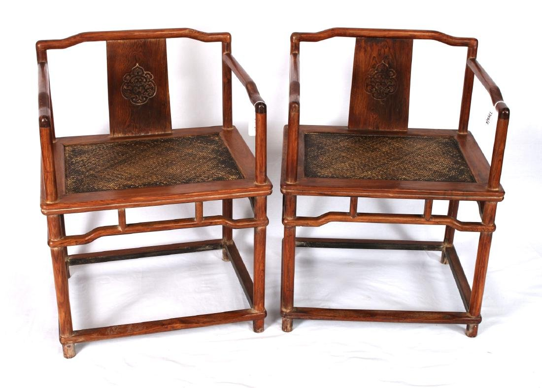 PAIR OF HUANG HUA LI CARVED CHAIRS