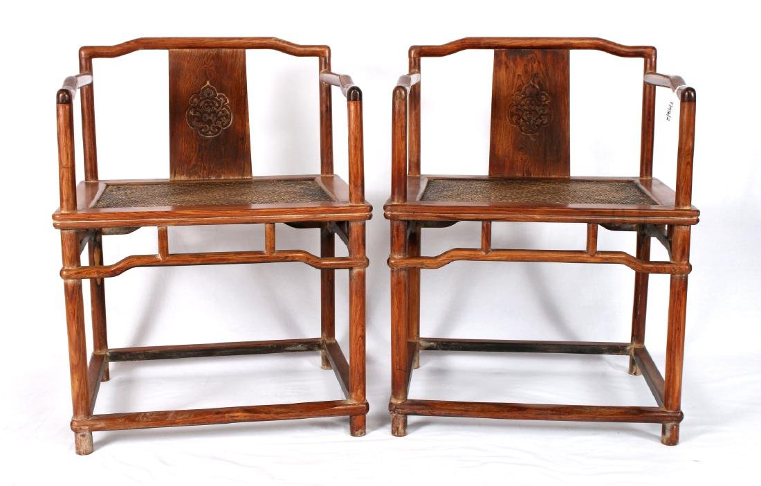 PAIR OF HUANG HUA LI CARVED CHAIRS - 2