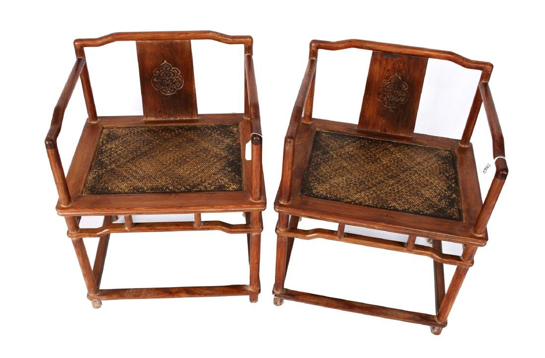 PAIR OF HUANG HUA LI CARVED CHAIRS - 3