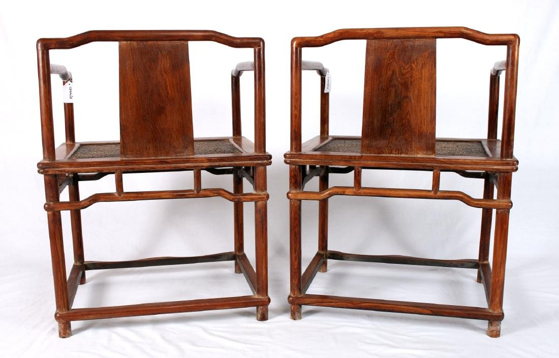 PAIR OF HUANG HUA LI CARVED CHAIRS - 4