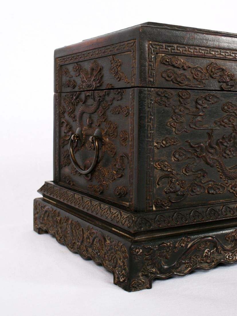 CARVED ZITAN BOX WITH BASE - 4