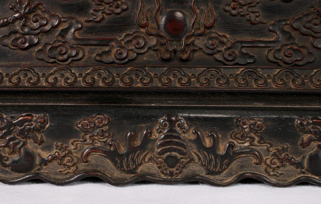 CARVED ZITAN BOX WITH BASE - 7