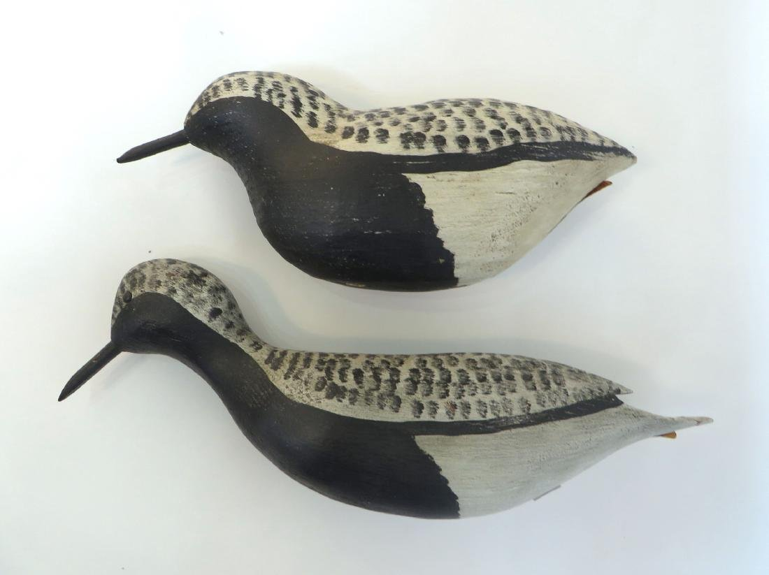 TWO CARVED WOODEN SANDPIPER DECOYS