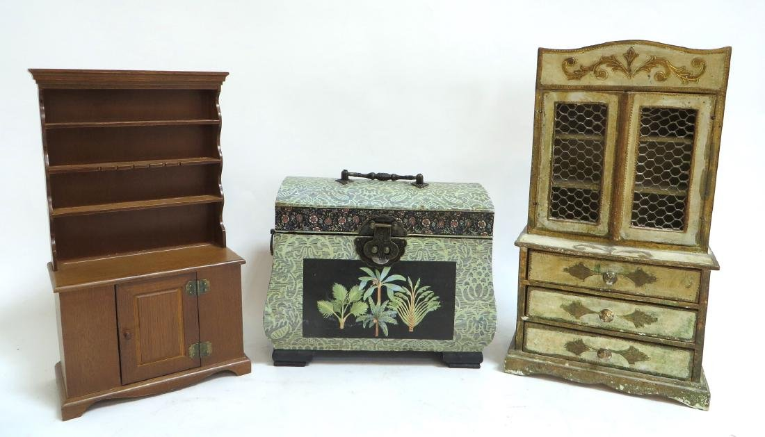 TWO MINI HUTCHES & BOX IN DOLL HOUSE SIZE
