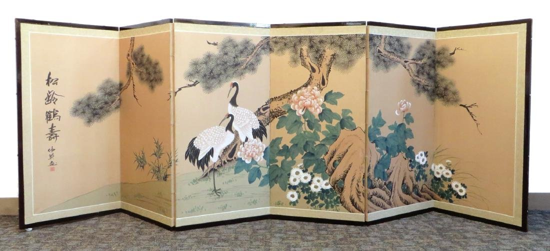 SIX PANEL JAPANESE SCREEN OF BIRDS AND FLOWERS