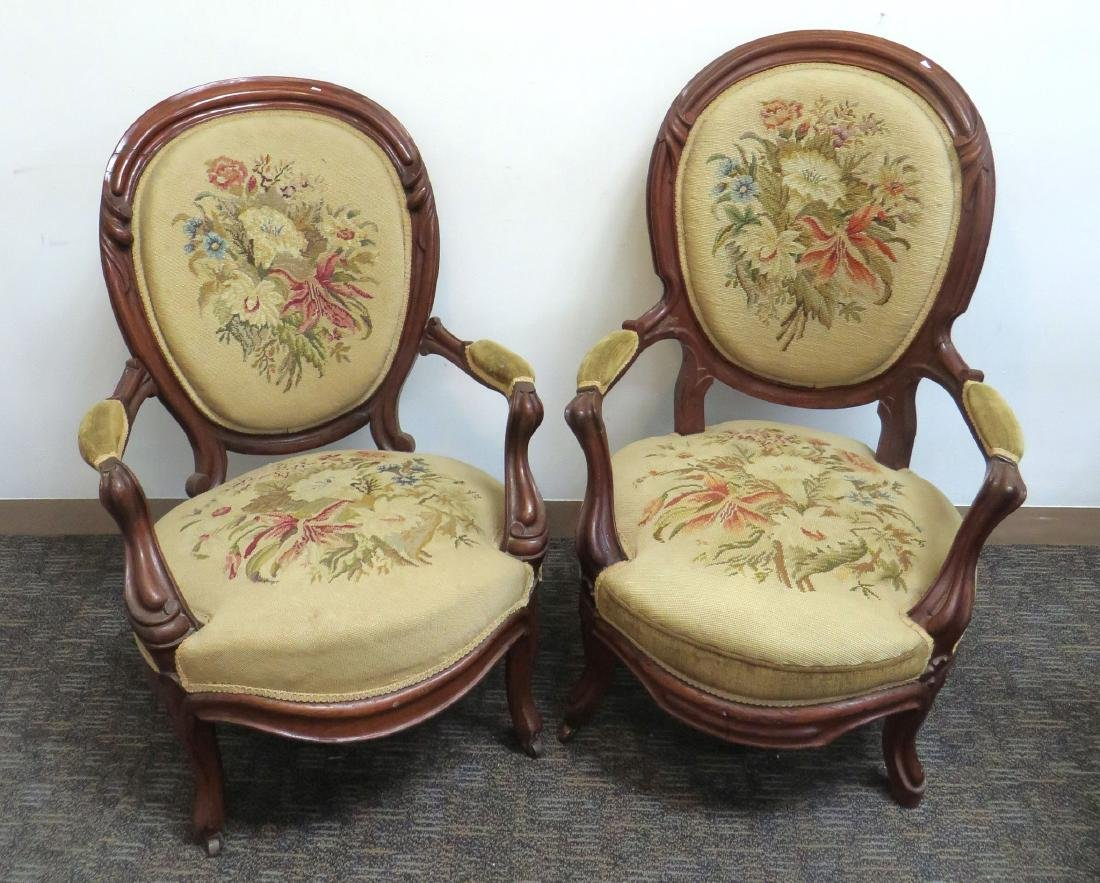 PAIR OF VICTORIAN NEEDLEPOINT SLIPPER CHAIRS