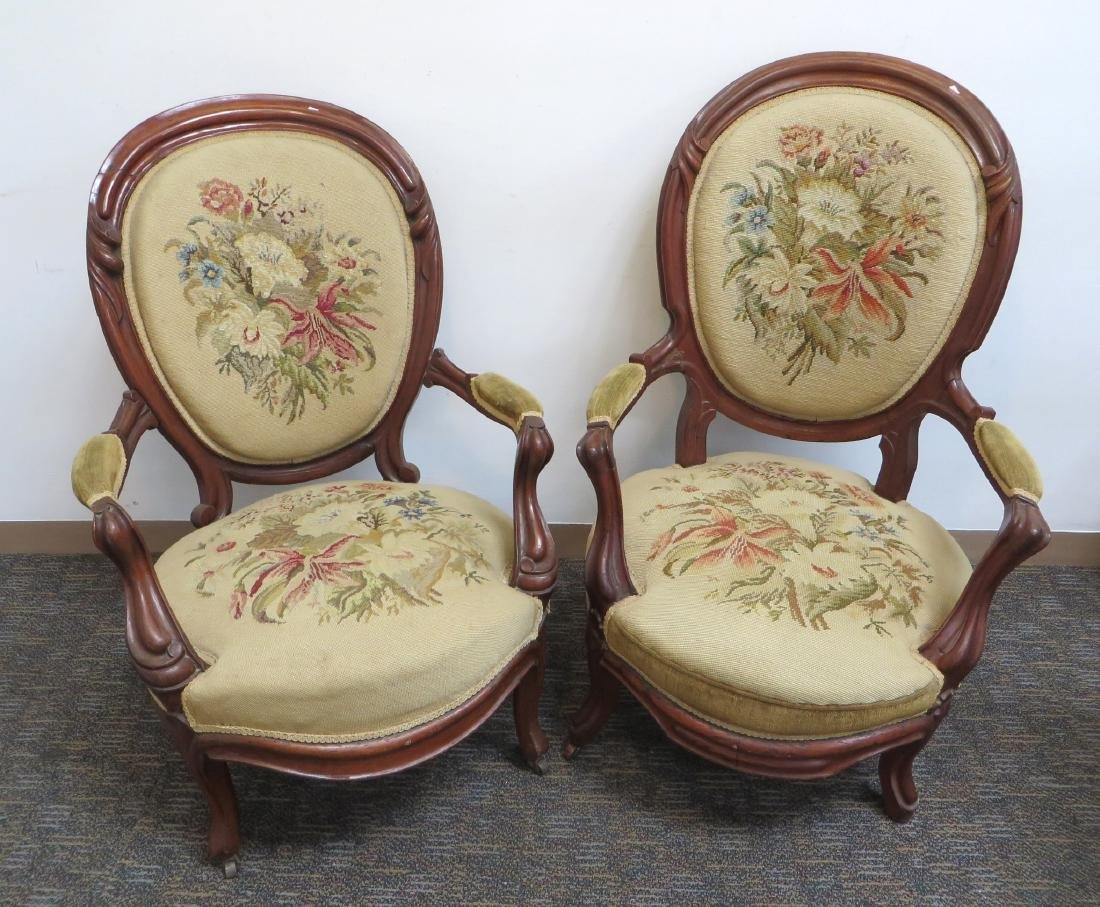 PAIR OF VICTORIAN NEEDLEPOINT SLIPPER CHAIRS - 2