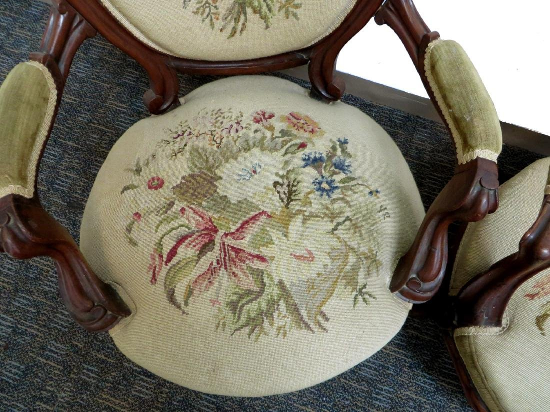 PAIR OF VICTORIAN NEEDLEPOINT SLIPPER CHAIRS - 4