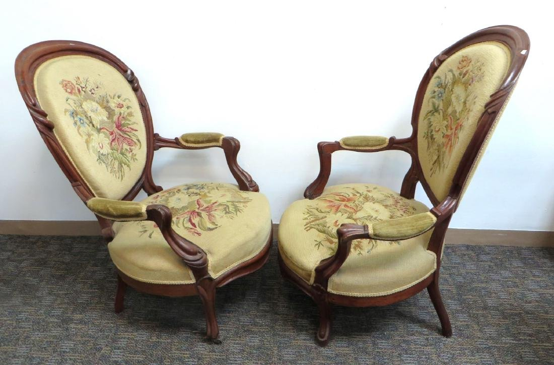 PAIR OF VICTORIAN NEEDLEPOINT SLIPPER CHAIRS - 5