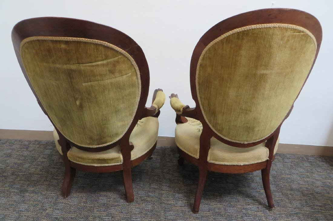 PAIR OF VICTORIAN NEEDLEPOINT SLIPPER CHAIRS - 6