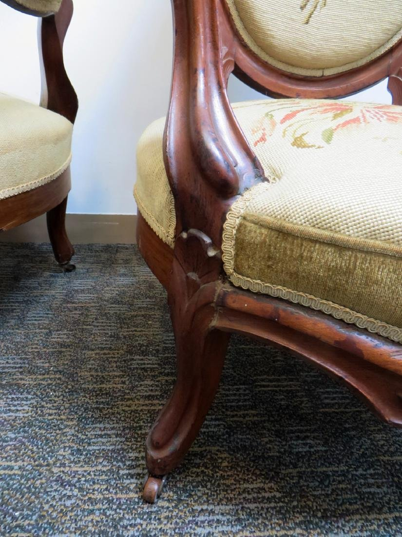 PAIR OF VICTORIAN NEEDLEPOINT SLIPPER CHAIRS - 8