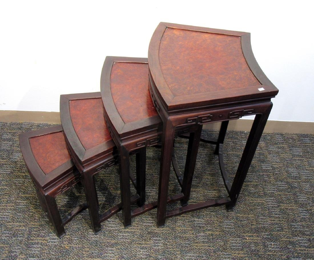 ROSEWOOD & BURL WOOD CHINESE NESTING TABLES