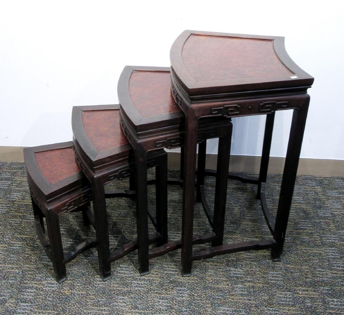 ROSEWOOD & BURL WOOD CHINESE NESTING TABLES - 2