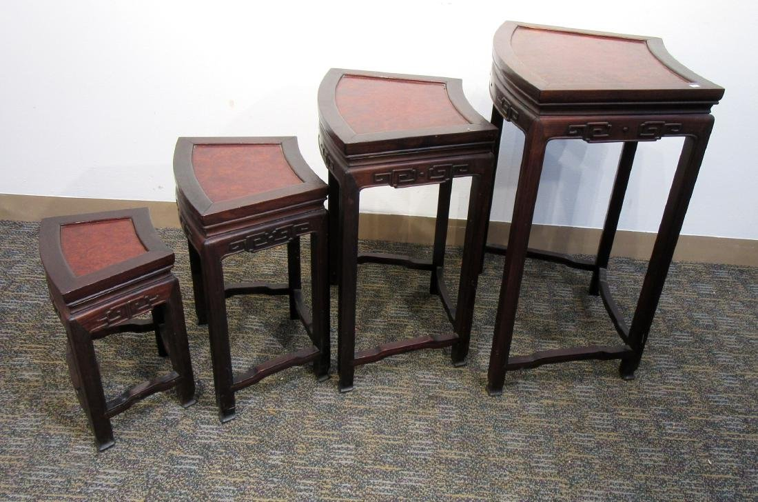 ROSEWOOD & BURL WOOD CHINESE NESTING TABLES - 3