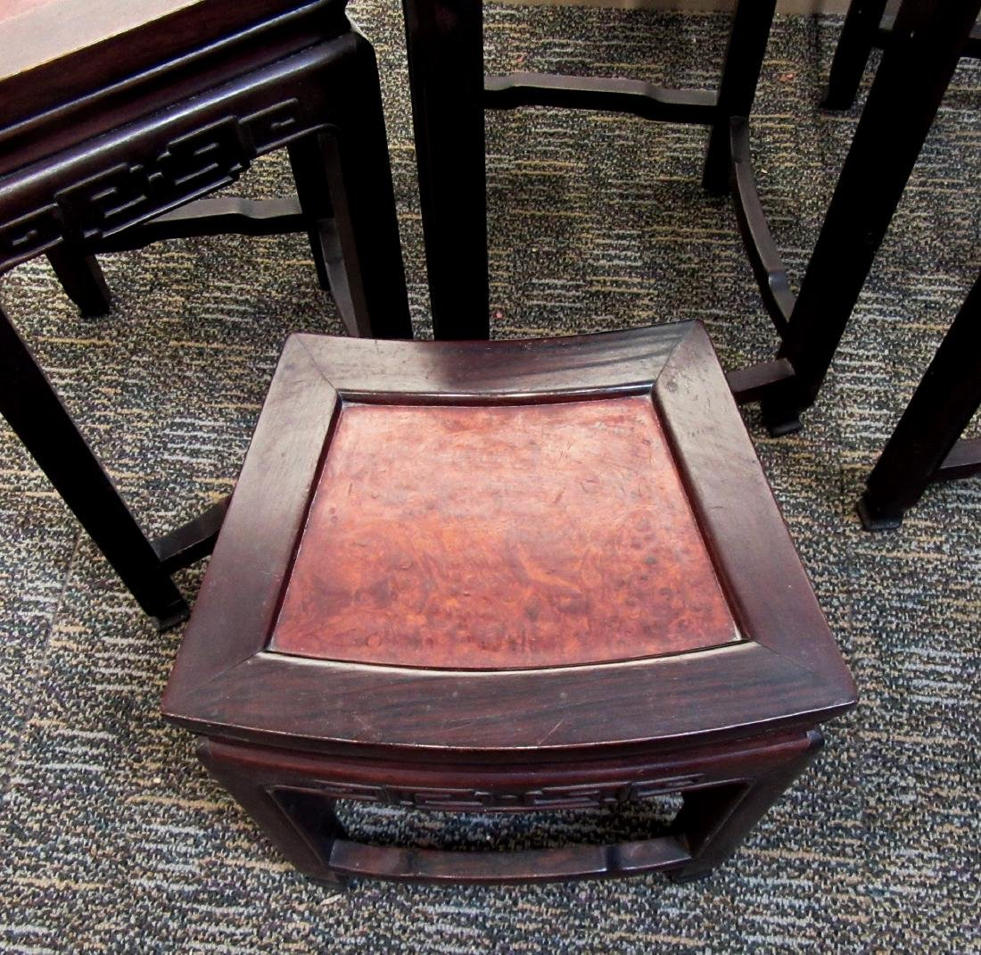ROSEWOOD & BURL WOOD CHINESE NESTING TABLES - 4