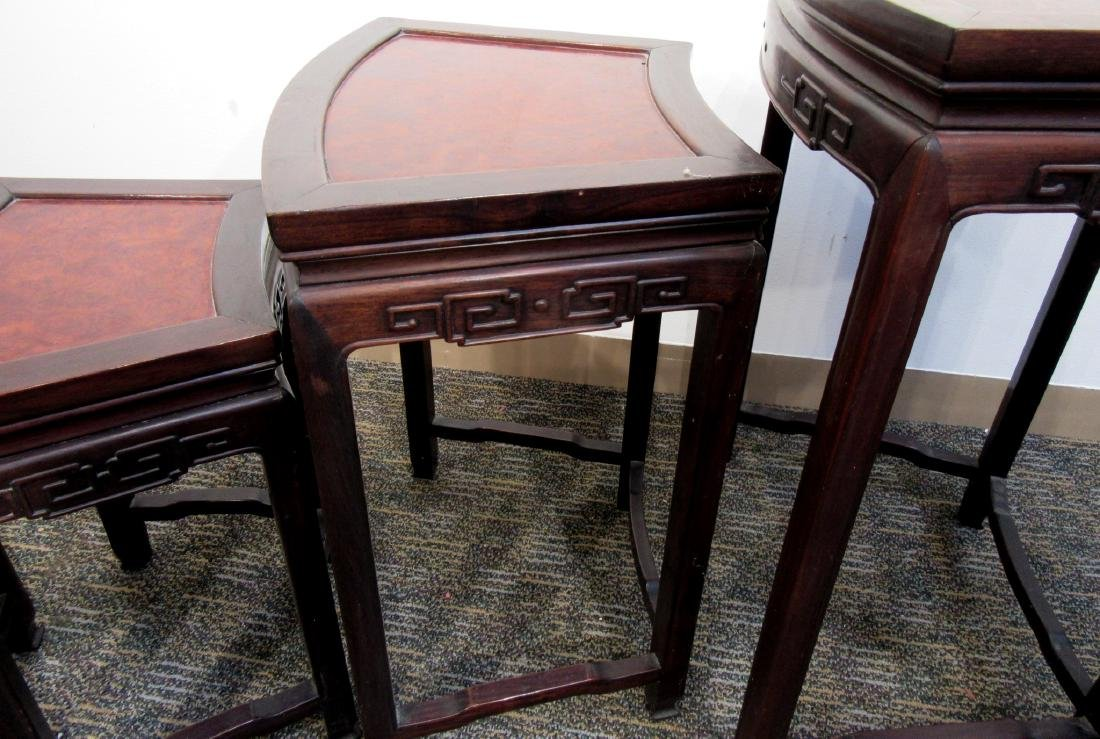 ROSEWOOD & BURL WOOD CHINESE NESTING TABLES - 5