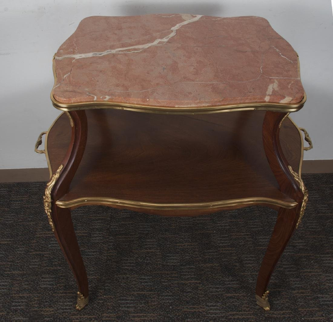 TWO TIERED SIDE TABLE WITH MARBLE INSET - 3
