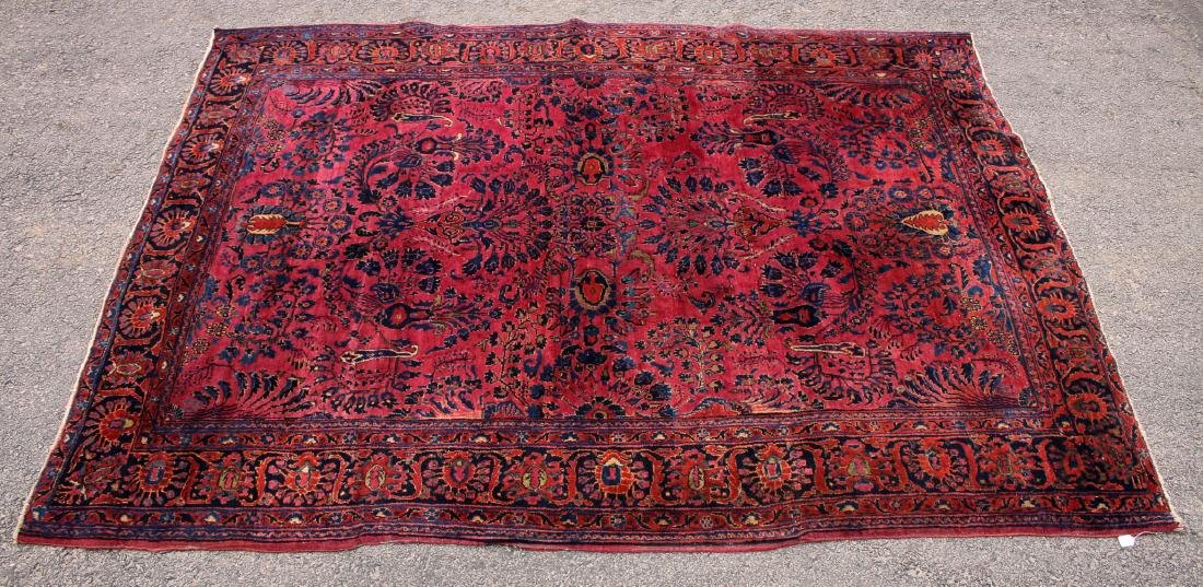 RED AND BLUE ORIENTAL RUG - 2