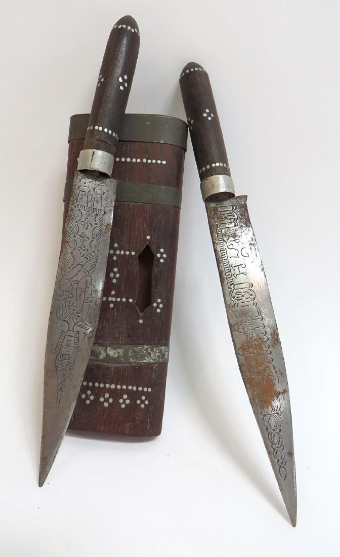 INDIAN SINGLE SHEATH WITH A PAIR OF KNIVES