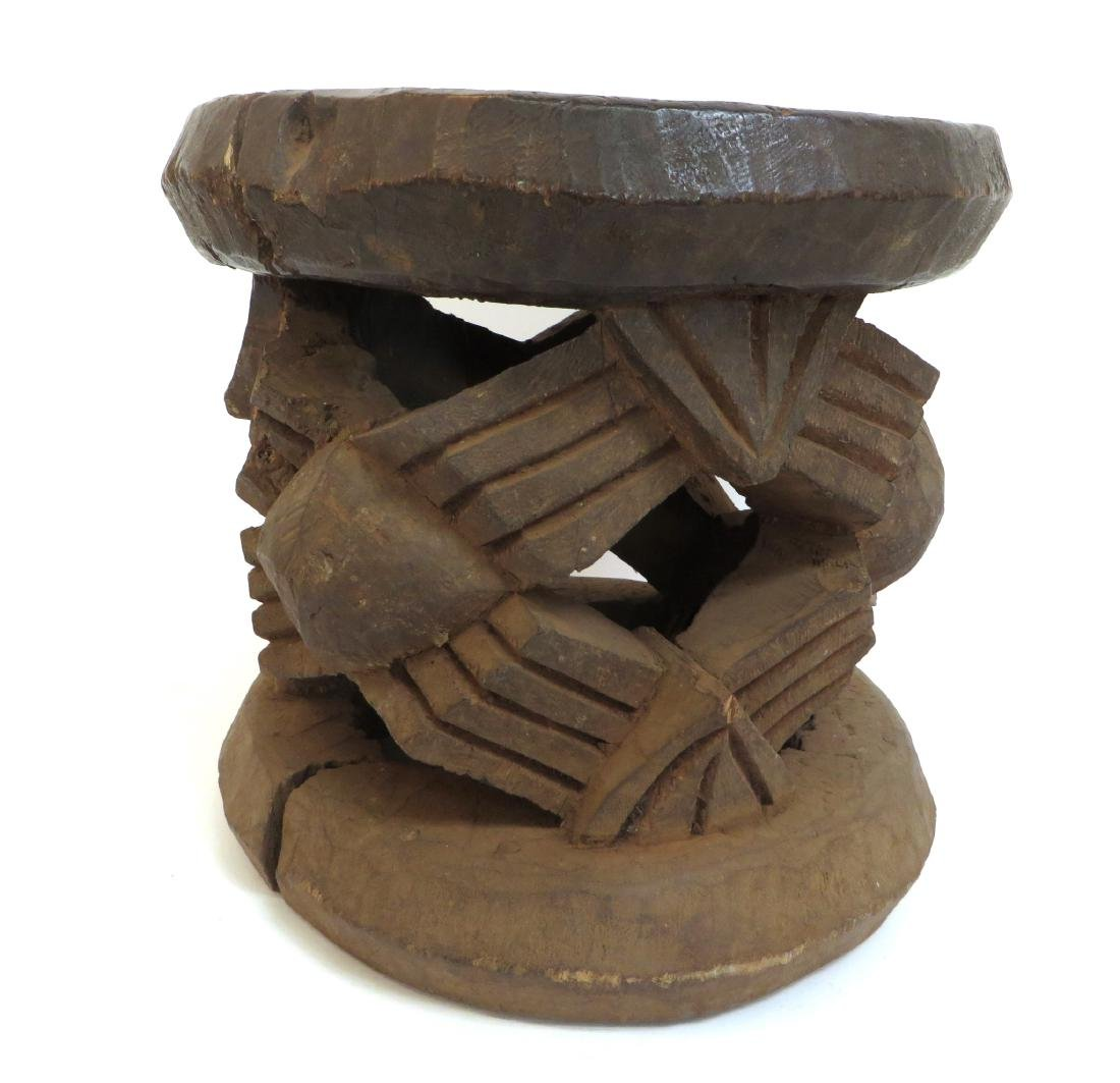CARVED AFRICAN STOOL - 2