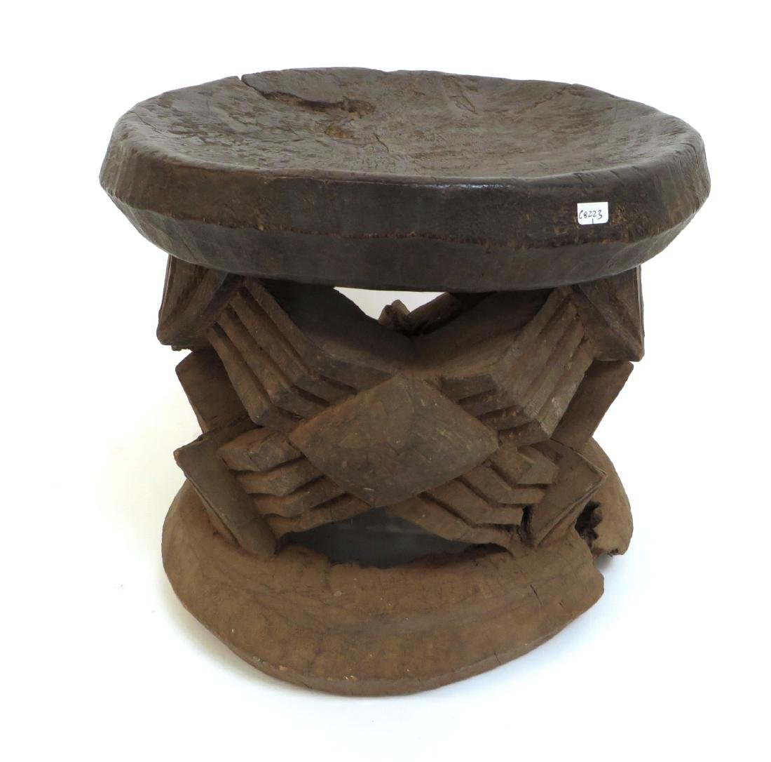 CARVED AFRICAN STOOL - 3