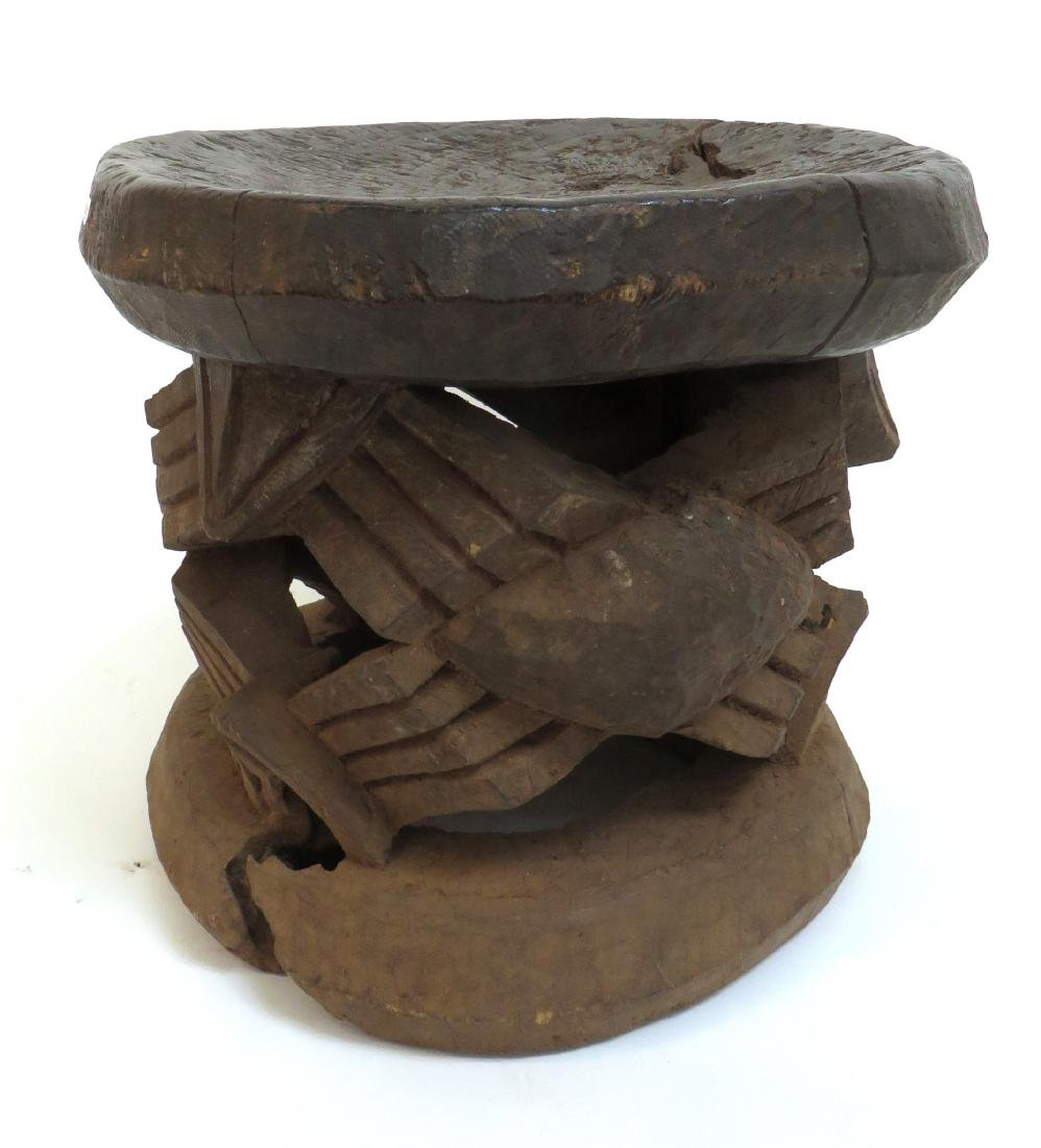 CARVED AFRICAN STOOL - 8