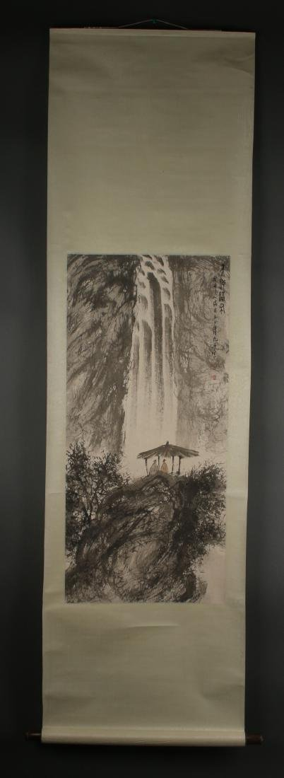 SCROLL OF SCHOLARS AT A WATERFALL