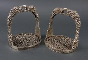 PAIR OF SILVERED STIRRUPS
