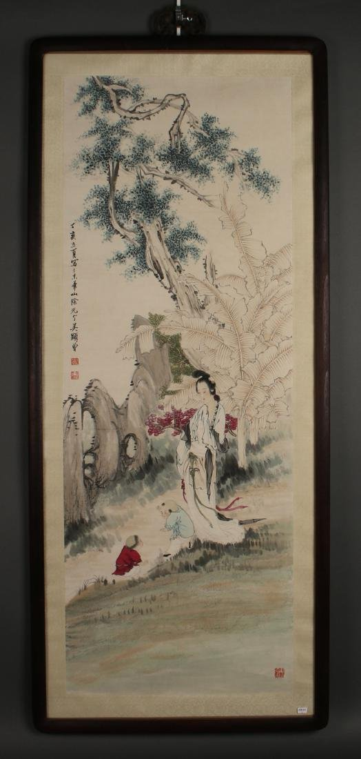 FRAMED WATERCOLOR OF WOMAN & CHILD