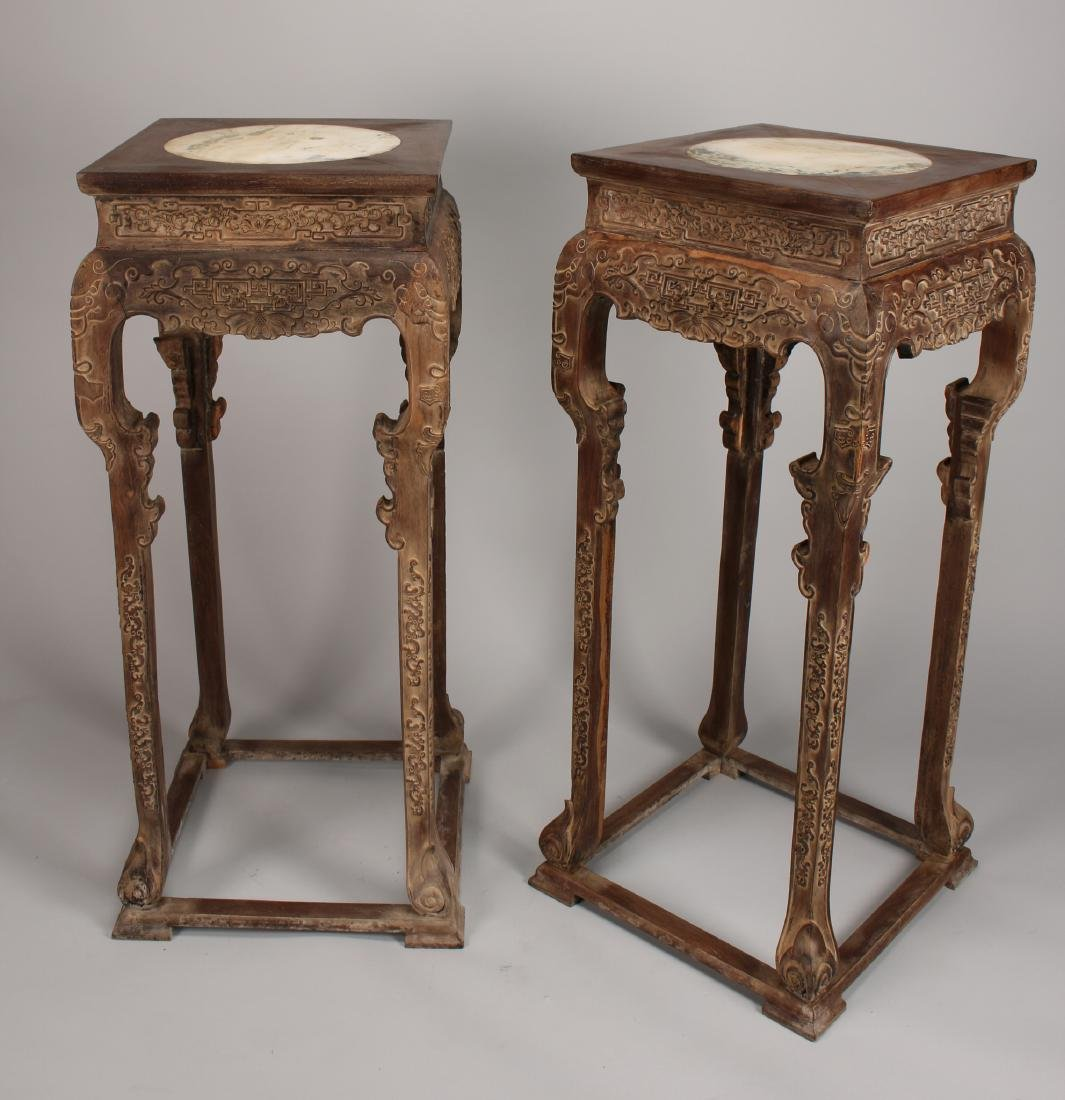 PAIR OF HUANG HUA LI STANDS WITH MARBLE INSERTS