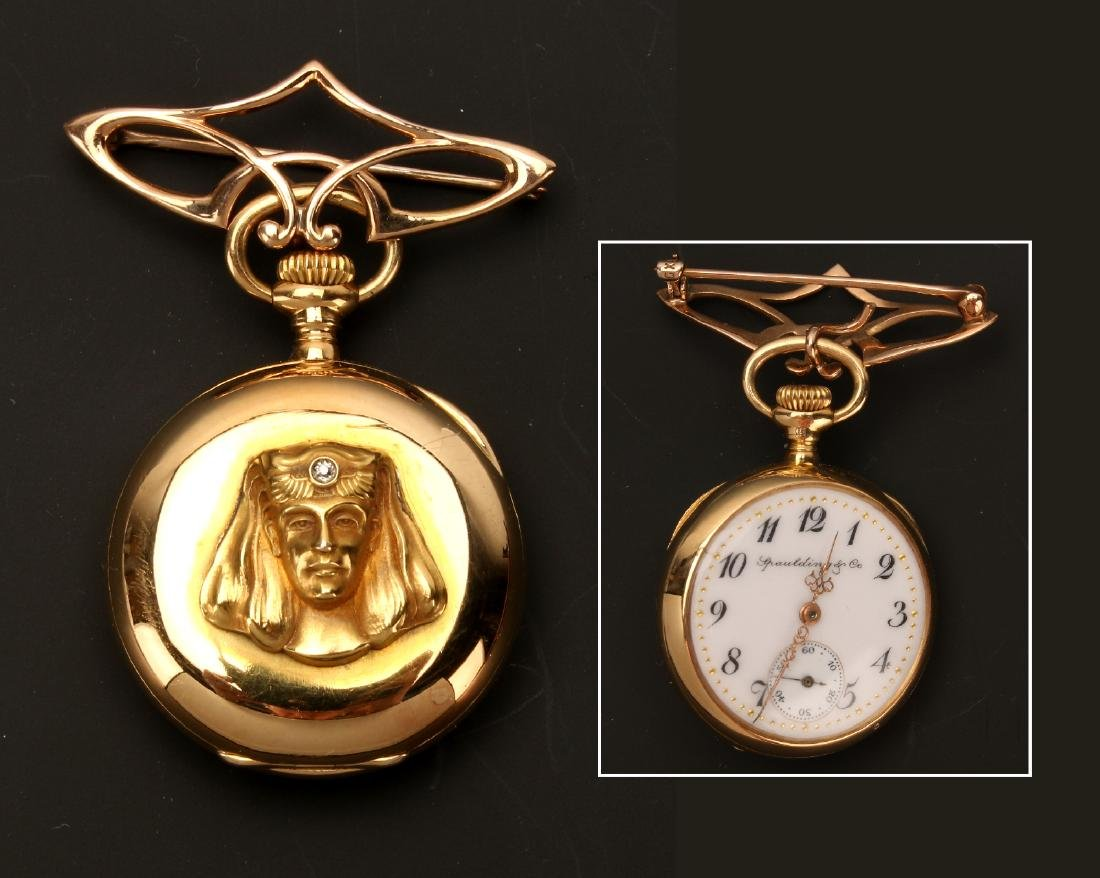 SMALL LADIES 18K EGYPTIAN REVIVAL WATCH