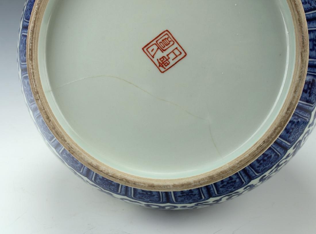 LARGE BLUE AND WHITE HUNDRED DEER VASE - 10