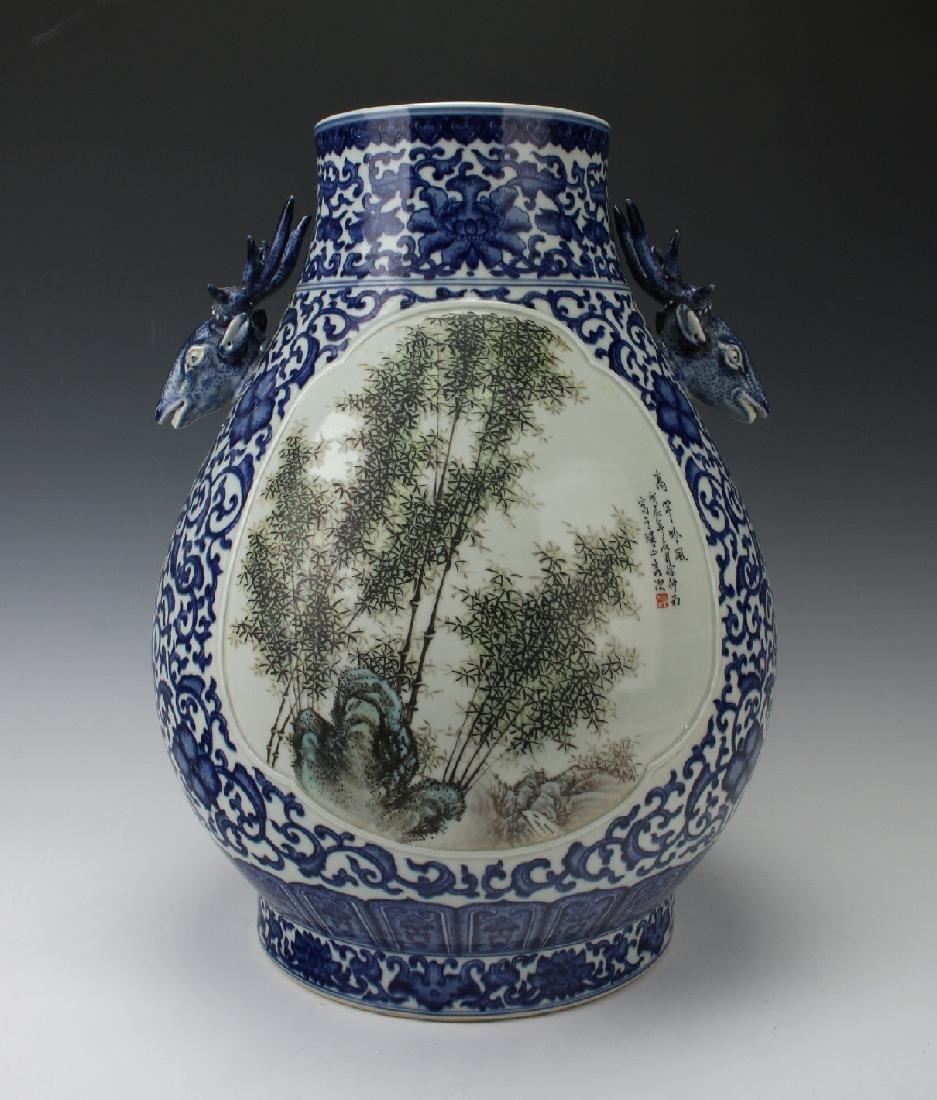 LARGE BLUE AND WHITE HUNDRED DEER VASE - 2
