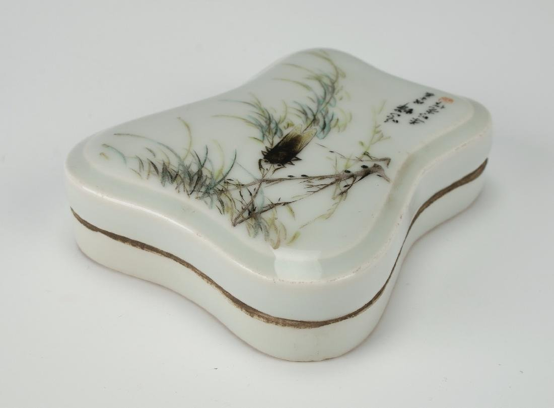 PORCELAIN LIDDED INK STONE WITH CICADA - 4