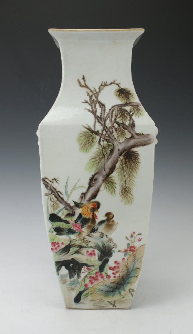 SQUARE VASE WITH FLOWERS & BIRDS - 3