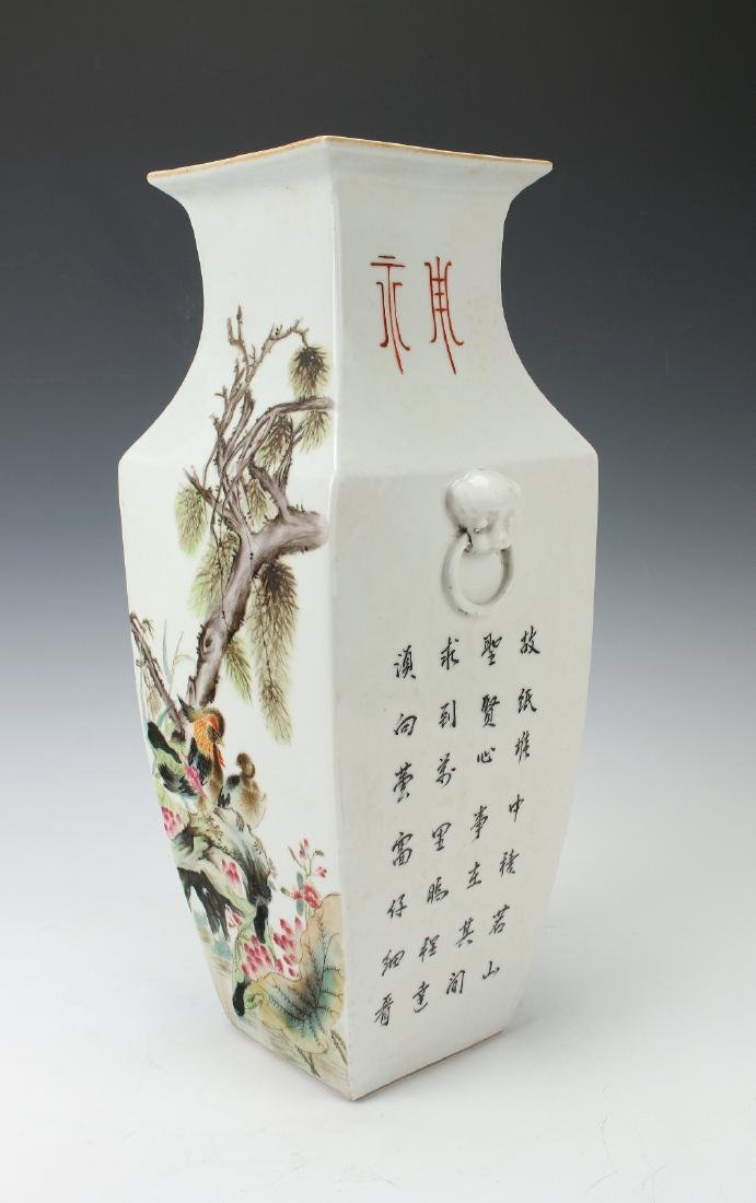 SQUARE VASE WITH FLOWERS & BIRDS - 4