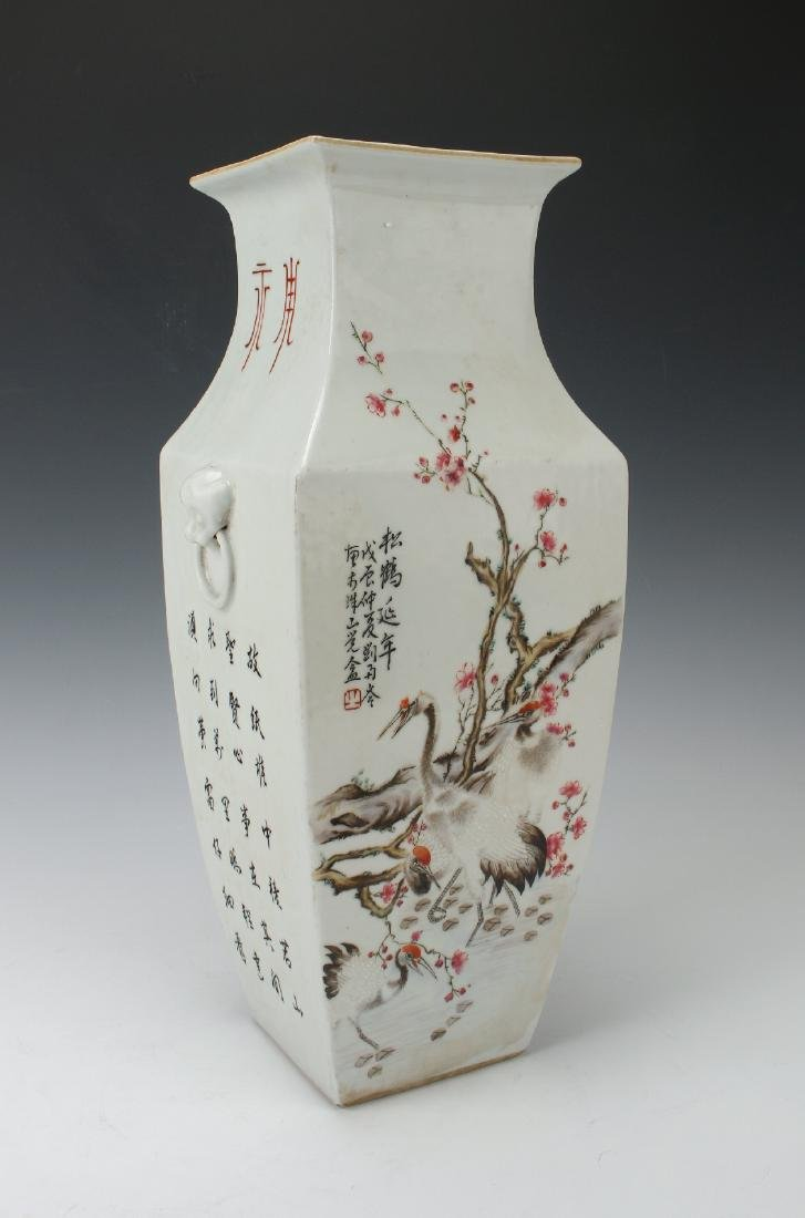 SQUARE VASE WITH FLOWERS & BIRDS - 5