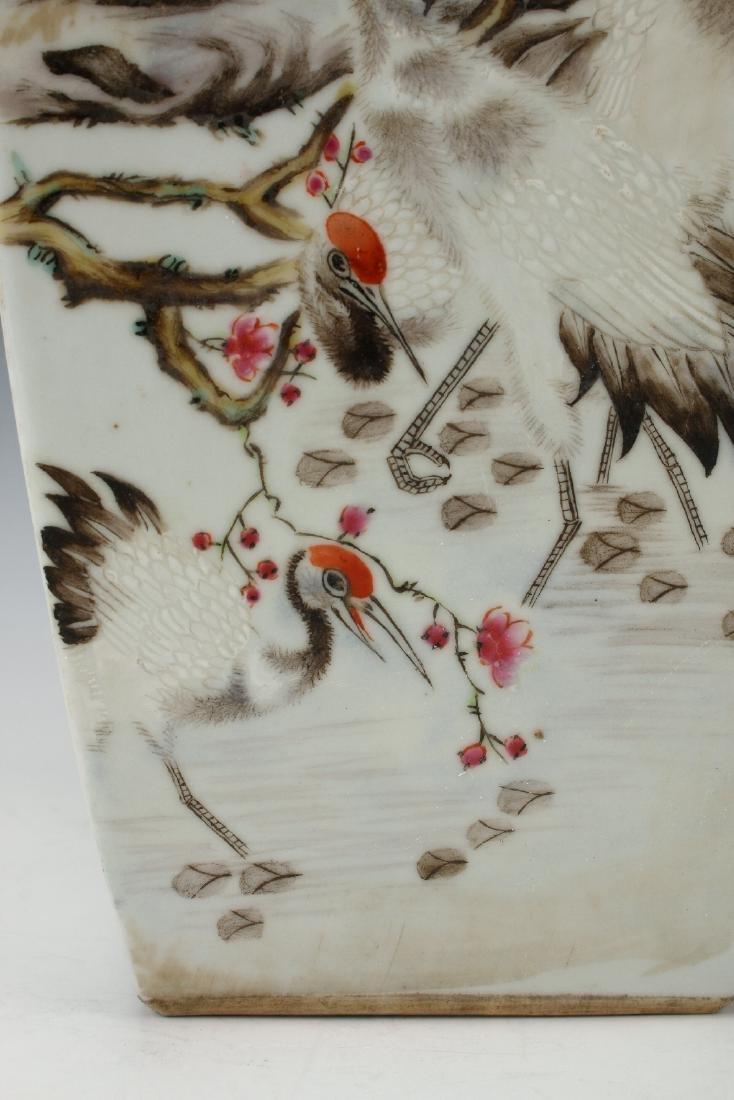 SQUARE VASE WITH FLOWERS & BIRDS - 9