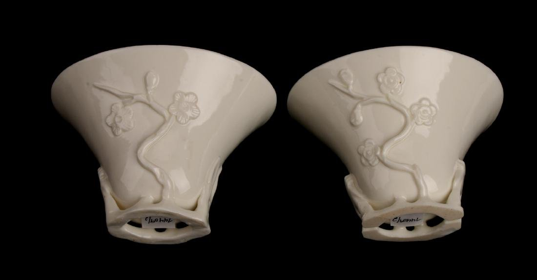 PAIR OF PORCELAIN RHINOCEROS FORM LIBATION CUPS - 2