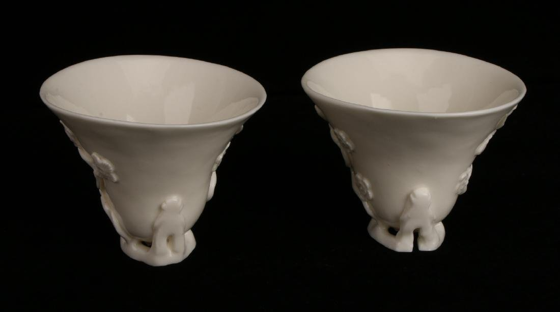 PAIR OF PORCELAIN RHINOCEROS FORM LIBATION CUPS - 5