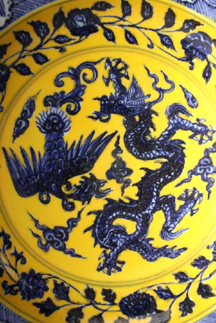 BLUE & YELLOW BOWL WITH DRAGON & PHOENIX - 5