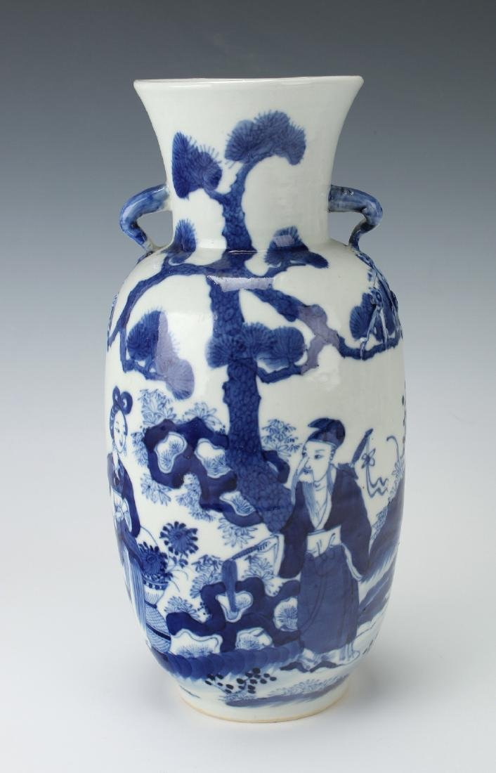BLUE & WHITE VASE WITH GARDEN SCENE