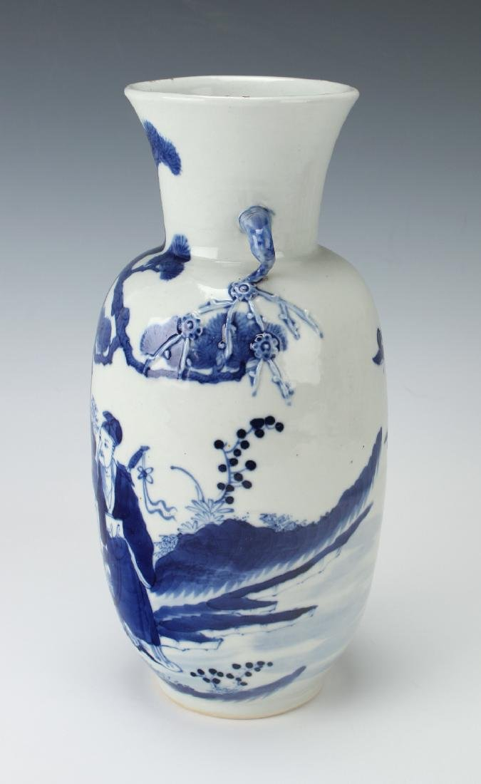 BLUE & WHITE VASE WITH GARDEN SCENE - 2