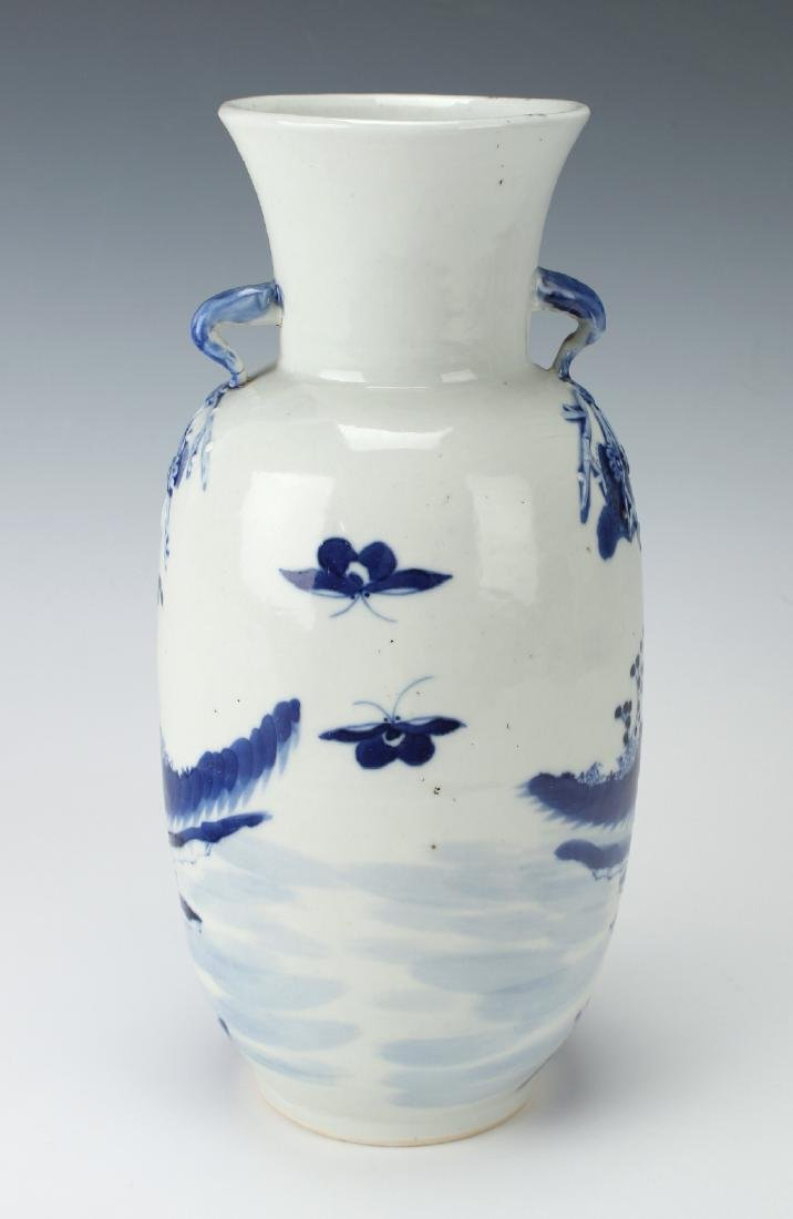 BLUE & WHITE VASE WITH GARDEN SCENE - 3
