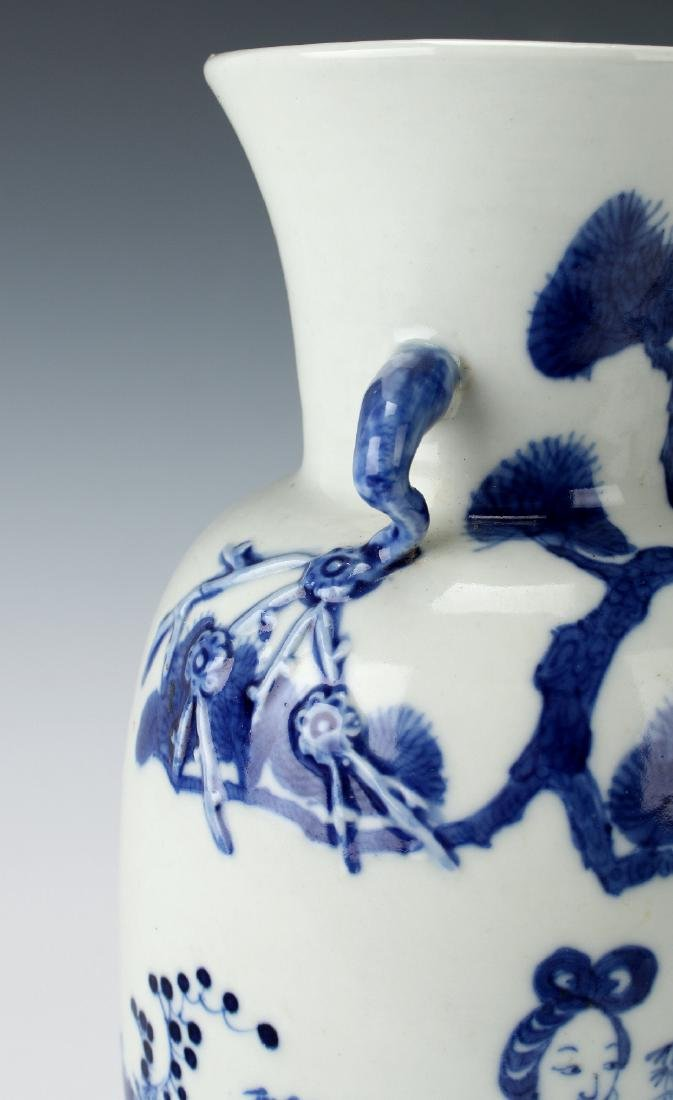 BLUE & WHITE VASE WITH GARDEN SCENE - 5
