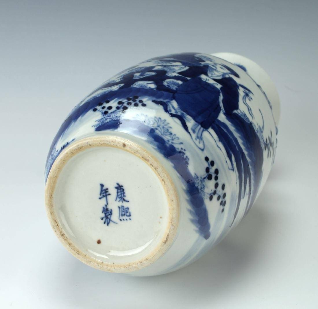 BLUE & WHITE VASE WITH GARDEN SCENE - 6