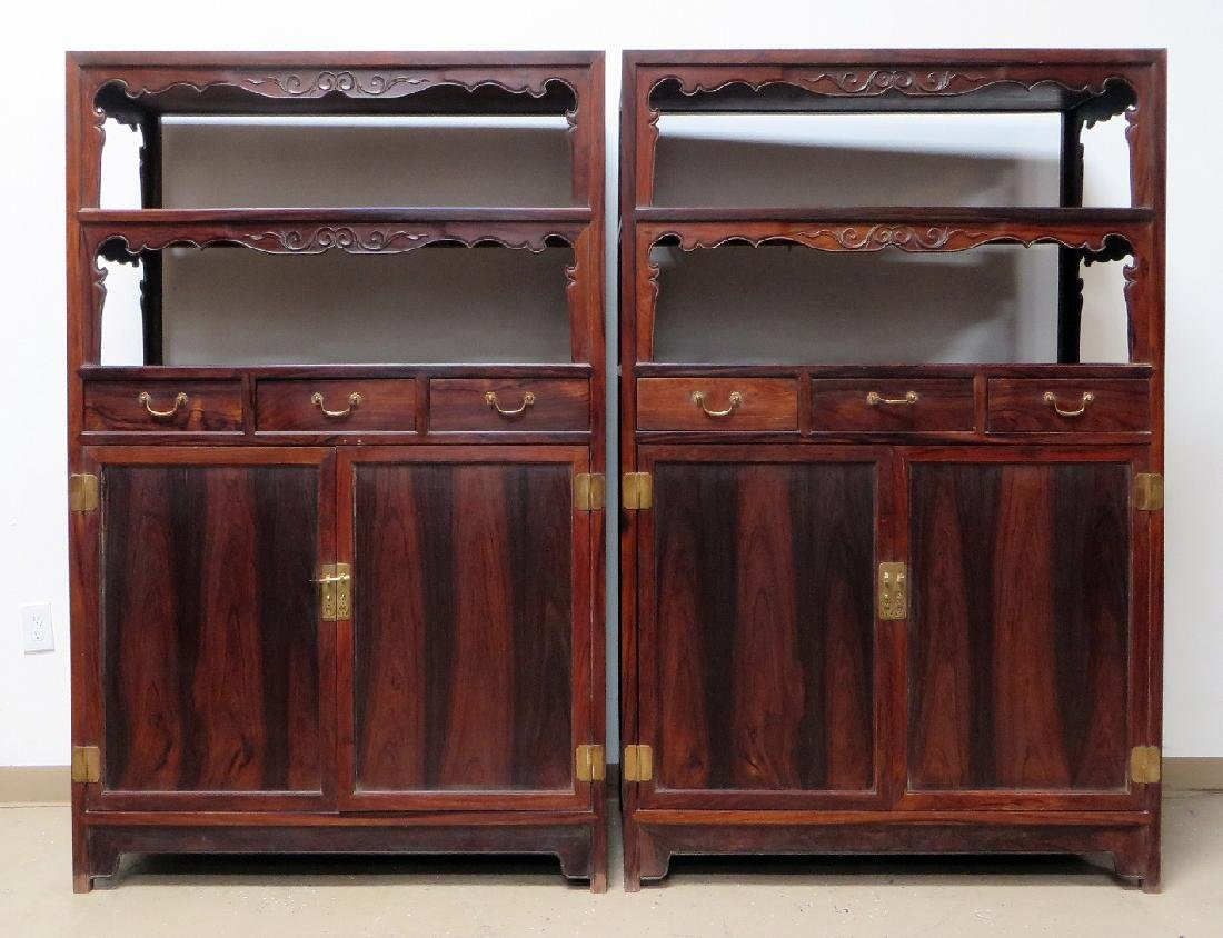 PAIR OF CHINESE DOUBLE DOOR  HUANGHUALI CABINETS