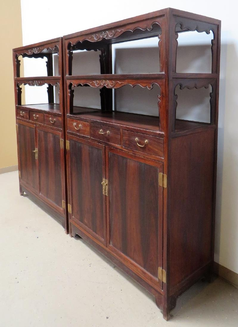PAIR OF CHINESE DOUBLE DOOR  HUANGHUALI CABINETS - 3